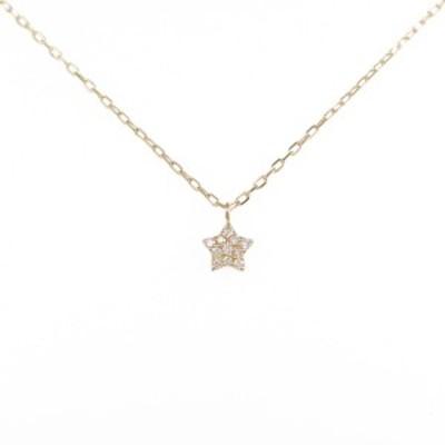 【中古品】K18YG スター ダイヤモンドネックレス