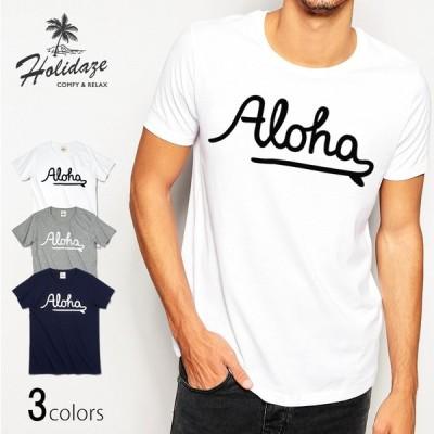ALOHA アロハ ロゴTシャツ ハワイ ビーチ リゾート サーフ ブランド メンズ 半袖 ホワイト グレー ネイビー HOLIDAZE ホリデイズ