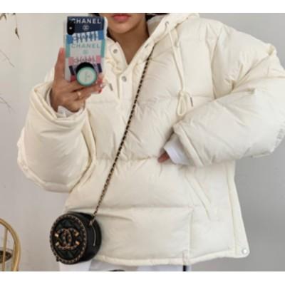 冬新作 冬コートレディース アウター ダウン ダウンジャケット ブルゾン フェイクダウン フード付き コート 上着 中綿 ショート丈 無地