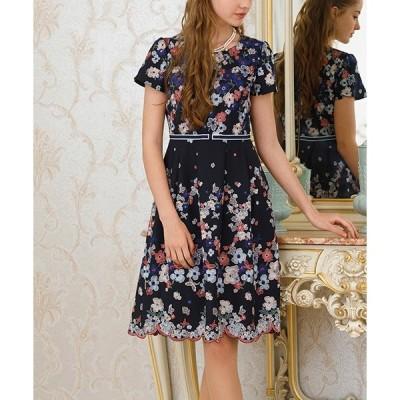 ドレス ジョーゼットフラワー刺繍ワンピース