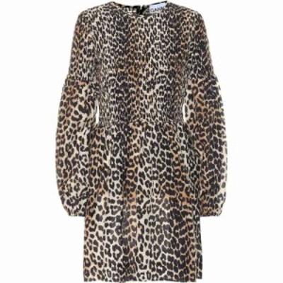 ガニー Ganni レディース ワンピース ワンピース・ドレス Leopard-print cotton and silk minidress Leopard