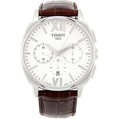 ティソ Tissot 腕時計 メンズ 時計 Tissot T-Classic T-Lord Chronograph Automatic White Dial Brown Leather Mens Watch T0595271601800