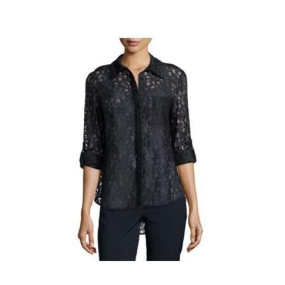 トップス ダイアンフォンファステンバーグ Diane von Furstenberg DVF Lorelei Two Lace Blouse Embroidery Navy 2 4 6