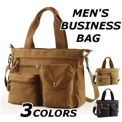 ビジネスバッグ メンズ 手提げ 斜めがけ ショルダー 2way 帆布 ブランド おしゃれ 40代 50代 通勤 バッグ カバン 大容量 17ama166w