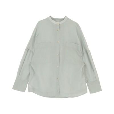 【ミエット】 バンドカラーシアーシャツ レディース ブルーグレー F miette