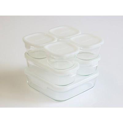 iwaki 保存容器 ホワイト 7点 セット 少し透け感のある白です パック&レンジ  イワキ 冷凍 レンジ オーブン