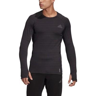 アディダス シャツ トップス メンズ adidas Men's Runner Casual Long Sleeve T-shirt Black