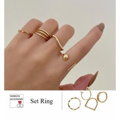 送料無料 即納 指輪 リング セットリング フリーサイズ 重ね付け ウェーブリング ドロップ ラップリング デザインリング 4点1組 ラウンド