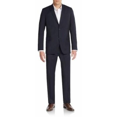 サックスフィフスアベニュー Men Clothing Trim-Fit Solid Wool Suit