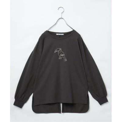 (LBC/エルビーシー)アニマル刺繍バックスリットロンT/レディース チャコールグレー