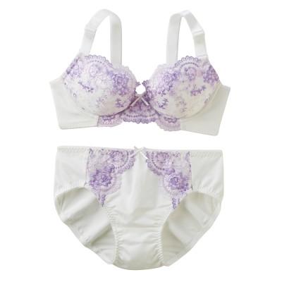 花柄ブラジャー。ショーツセット(ラージサイズ)(D85/LL) (ブラジャー&ショーツセット)Bras & Panties