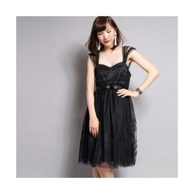 【SALE 20%OFF】ポリエステルチュールワンピース(ブラック)【VANILLA CoUTURE】DOUBLE STANDARD CLOTHING(ダブスタ)