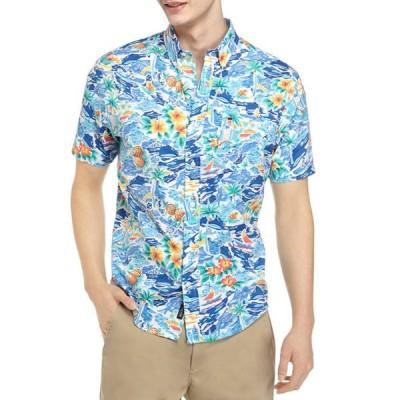 クラウン&アイビー メンズ シャツ トップス Motion Flex Short Sleeve Woven Button Down Shirt