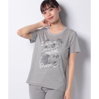 レリアン 刺繍ボーダーTシャツ(ネイビー)【返品不可商品】
