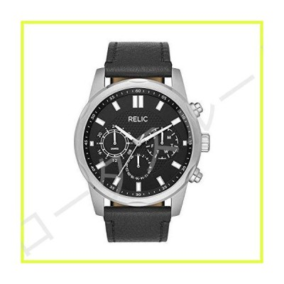 Relic by Fossil Men's Pacey Stainless Steel Quartz Watch with Leather Strap, Black, 24 (Model: ZR15970) 並行輸入品