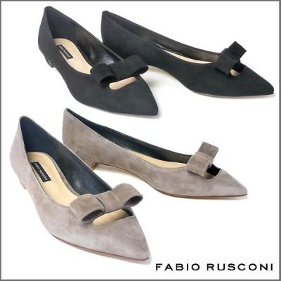 ファビオルスコーニ FABIO RUSCONI スエード ポインテッドトゥ リボン パンプス ヒール2cm 3422-suede