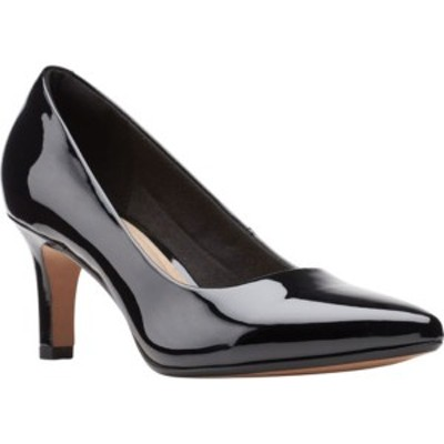 クラークス レディース サンダル シューズ Illeana Tulip Pointed Toe Pump Black Patent Synthetic