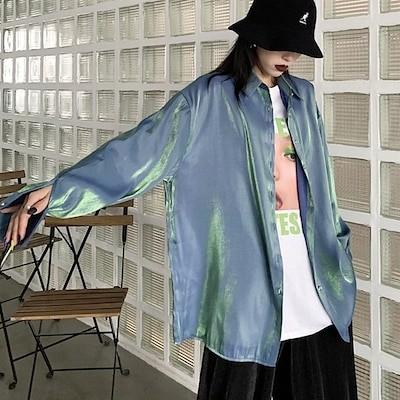 サテンシャツ 長袖 無地 ビッグシルエット ブルー パープル グレートップス ダンス 衣装 韓国 ヒップホップ レディース