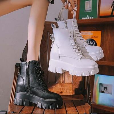 ブーツ ウェッジ 厚底  レディースショートブーツ 秋冬 履きやすい 通勤 ファッション 美脚  ブラック ワークブーツ
