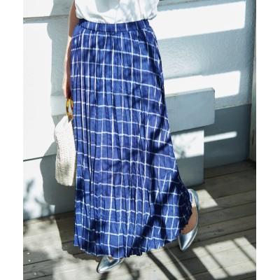 【ロペピクニック】 フレンチリネン混プリーツスカート レディース ブルー系 38 ROPE' PICNIC