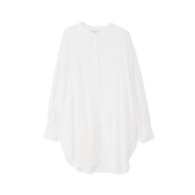 シャツ ブラウス 【Sシリーズ対応】スタンドネックロングチュニックシャツ