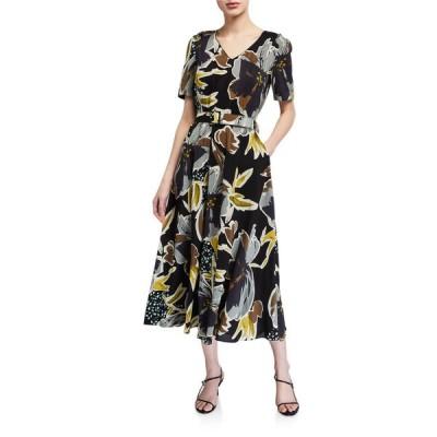 ラファイエットワンフォーエイト レディース ワンピース トップス Roland Poppy Print Belted Silk Midi Dress