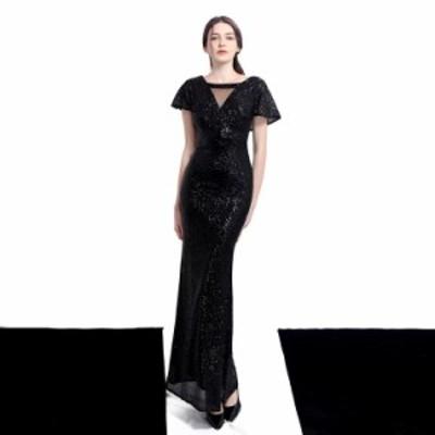イブニングドレス パーティードレス 安い 可愛い ロングドレス モチーフ パーティ マーメイド スパンコール 花嫁