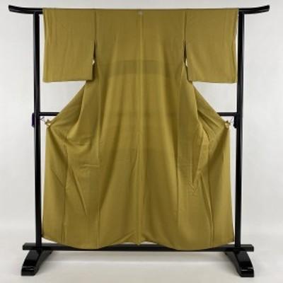 江戸小紋 美品 秀品 落款 一つ紋 鮫柄 黄土色 袷 身丈157.5cm 裄丈62cm S 正絹 中古