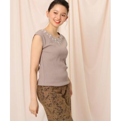 【クチュールブローチ】 フレンチスリーブスカラップネック刺繍フレンチスリーブ レディース タバコブラウン 38(M) Couture Brooch