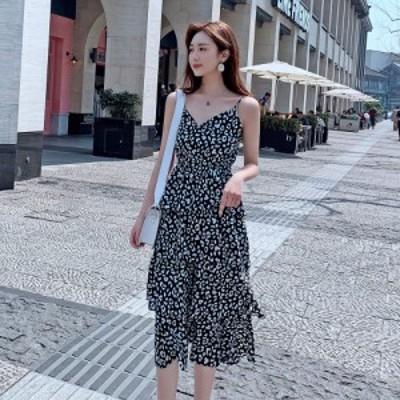 シフォンワンピース ミモレ丈 体型カバー ティアード フレア 大人可愛い カジュアル 韓国ファッション トレンド レディース オルチャン