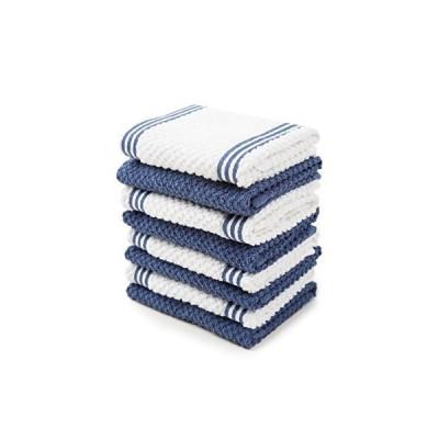 Sticky Toffee Cotton Terry Kitchen Dishcloth, Dark Blue, 8 Pack, 30cm x 30cm 並行輸入品 送料無料