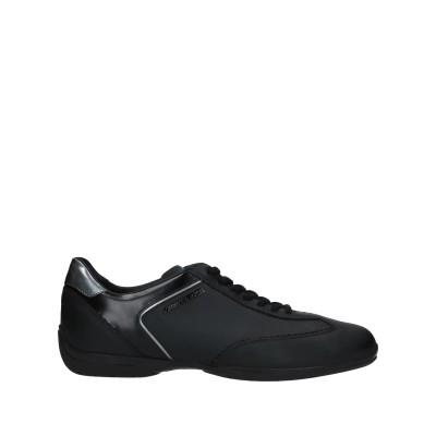 SANTONI スニーカー&テニスシューズ(ローカット) ブラック 9 革 スニーカー&テニスシューズ(ローカット)
