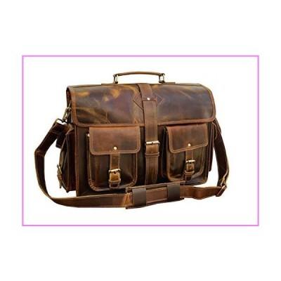 【送料無料】VC 18 Inch Vintage Handmade Leather Messenger Bag Laptop Briefcase Computer Satchel Bag for Men (Dark Brown)【並行輸