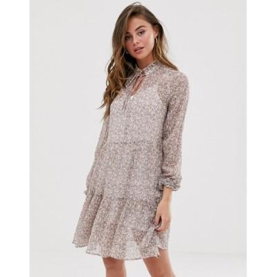 ニュールック レディース ワンピース トップス New Look tiered smock dress in white ditsy floral