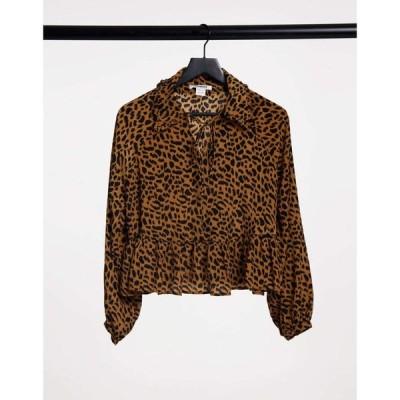 グラマラス Glamorous レディース ブラウス・シャツ ビブトップ トップス Relaxed Smocked Top With Bib Collar In Leopard Print ブラウンレオパード