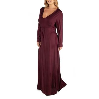 24セブンコンフォート ワンピース トップス レディース Semi Formal Long Sleeve Plus Size Maxi Dress Dark Purple