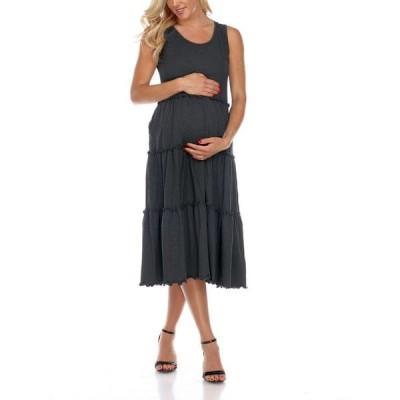 ホワイトマーク レディース ワンピース トップス Maternity Plus Size Scoop Neck Tiered Midi Dress