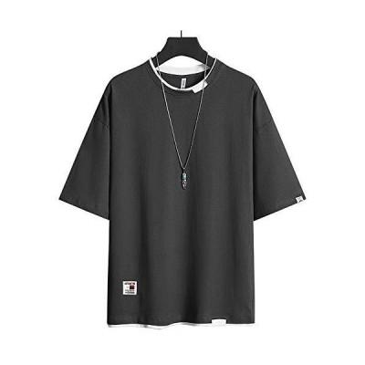 Tシャツ メンズ 半袖 夏服 無地 丸襟 快適 カットソー スポーツシャツ 服 シャツ カジュアルシャツ 夏 おしゃれ -gray-2XL