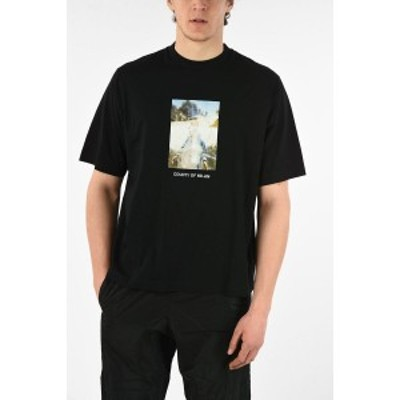 MARCELO BURLON/マルセロ バーロン Black メンズ Printed Oversized HOLY SQUARE T-Shirt dk