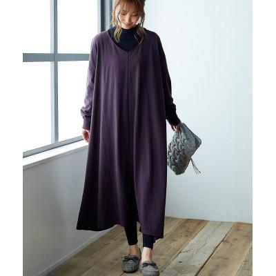 【ゆったりワンサイズ】シンプルVネックマキシ丈カットソーワンピース (ワンピース)Dress