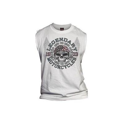 ハーレーダビッドソン Tシャツ トップス ウエア 半袖Harley-Davidson メンズ Anthem Winged Skull ノースリーブ Muscle Tee ホワイト