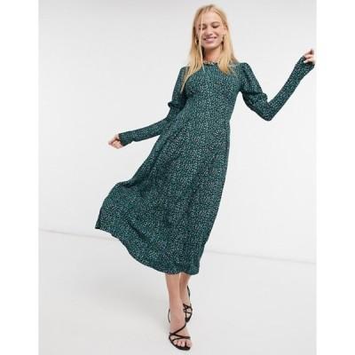 リバーアイランド レディース ワンピース トップス River Island animal print puff sleeved slit midi dress in green