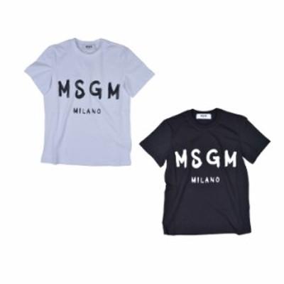 MSGM エムエスジーエム /BRUSH STROLES MSGM LOGO T SHIRT カットソー Tシャツ クルーネック ブラシロゴ レディース