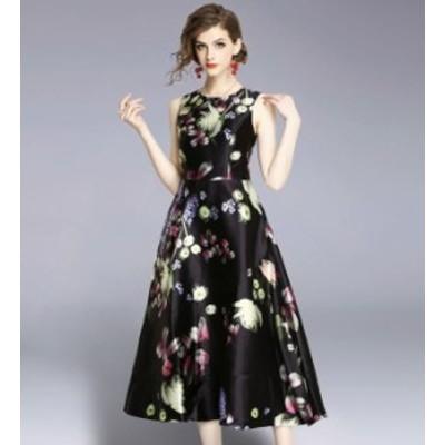 パーティードレス 結婚式 二次会 ワンピース 結婚式 お呼ばれ ドレス 20代 30代 40代 結婚式 お呼ばれドレス ノースリーブ 花柄 パーティ