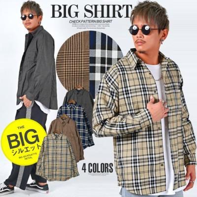 シャツ メンズ 長袖 長袖シャツ ビッグシルエット チェック 柄シャツ 大きめ ストリート