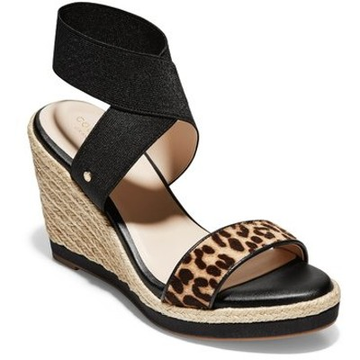 コールハーン サンダル シューズ レディース Cloudfeel Espadrille Wedge Sandal Black/ Cheetah Print Leather