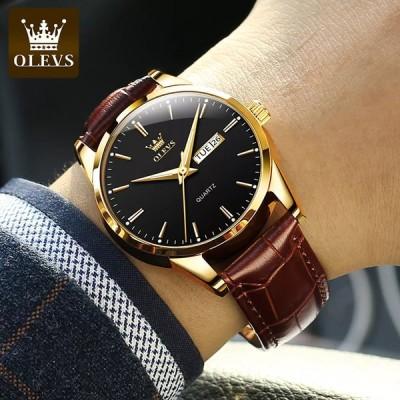 Olevs男性用 高級クォーツ時計,腕時計,通気性 革ストラップ,防水ビジネス,カジュアル