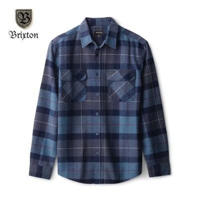 BRIXTON/ブリクストン BOWERY LS FLANNEL/フランネルシャツ・Navy/Carolina Blue