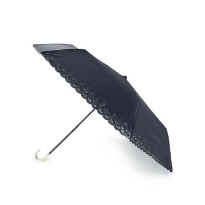【エスペランサ】 [UV99%カット]フラワーヒートカット折り畳み傘 レディース ネイビー FREE(フリー) ESPERANZA