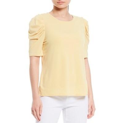 インベストメンツ レディース Tシャツ トップス Petite Size Ruched Short Sleeve Round Neck Top Golden Yellow